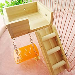 Wildgirl Pet Cage Accessory Perch Toy Garret Swing Ladder Toys (Wood)