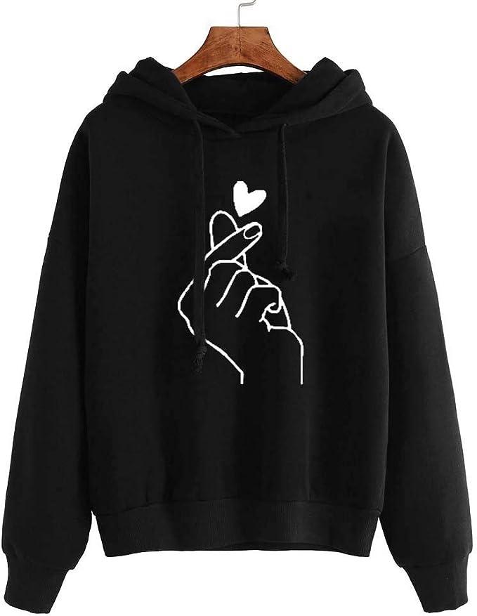 Women Sweatshirts Mitiy Teen Girls Casual Long Sleeve Heart Print Hoodie Pullover Tops Jumper Hooded Blouse