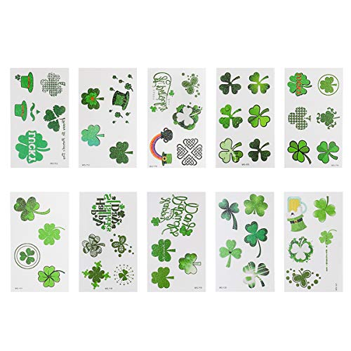 Amosfun 10 Sheets St. Patrick's Day Shamrock Tattoo Stickers Glitter Irish Clover Temporary Body Art St. Patrick's Day Party Supplies
