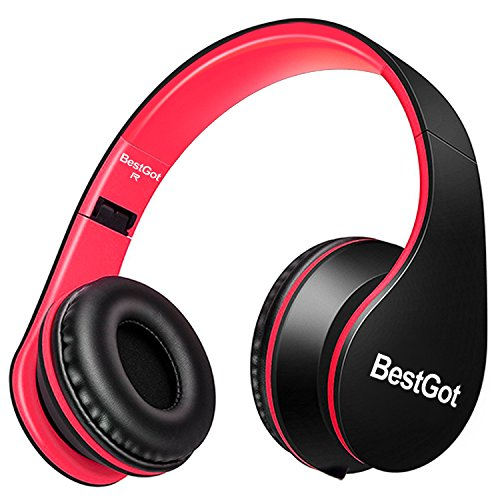 [Upgraded version] BestGot Headphones for Kids Boys Over Ear kids headphones with Microphone In-line Volume With Transport Cloth Bag Foldable Headphones with 3.5mm plug removable cord (Black/Red) -