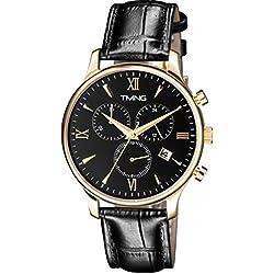 TMNG Men's TM1002NG Gold Stainless Steel Black Dial Watch