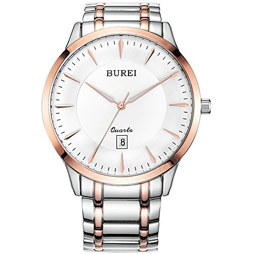 Sapphire Quartz Mens (BUREI Mens Simple Business Quartz Watches with Simple Dial Date Calendar Sapphire Glass Stainless Steel Bracelet)