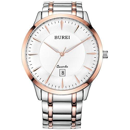 Mens Sapphire Quartz (BUREI Mens Simple Business Quartz Watches with Simple Dial Date Calendar Sapphire Glass Stainless Steel Bracelet)