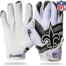Franklin Sports New Orleans Saints Youth NFL Football Receiver Gloves - Receiver Gloves for Kids - NFL Team Logos and Silicone Palm - Youth S/XS Pair