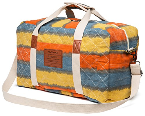 Malirona Canvas Weekender Bag Travel Duffel Bag for Weekend Overnight Trip (Sunset (Weekender Set)