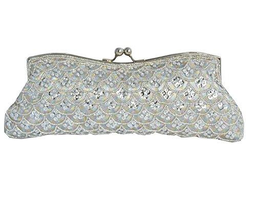Sat¨¦n precioso bolso de plata y los colores verdes - 2074 plata