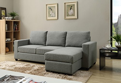 NHI Express Alexandra Convertible Sectional Sofa, Grey By NHI Express