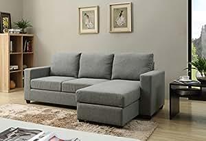 NHI Express Alexandra Convertible Sectional Sofa, Grey