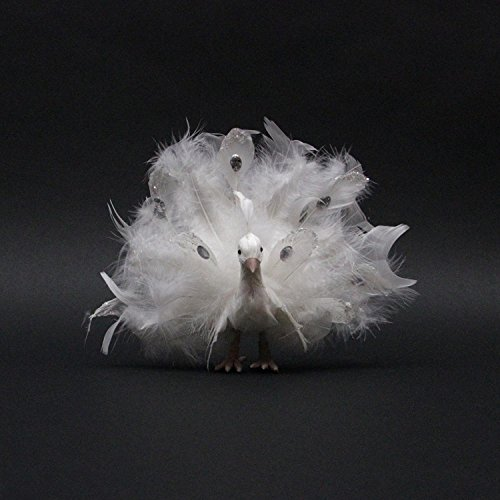 Northlight White Regal Peacock Bird with Open Tail Feathers Christmas Decoration, 9