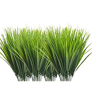 CATTREE Artificial Shrubs Bushes, Plastic Wheat Grass Green Leaves Fake Plants Wedding Indoor Outdoor Home Garden Verandah Kitchen Office Table Centerpieces Arrangements Christmas Decoration 8 pcs