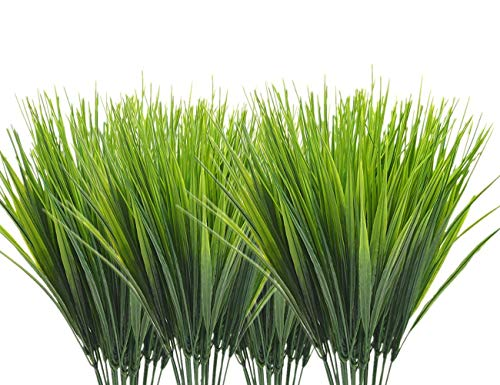 Garden Plants Grasses - CATTREE Artificial Shrubs Bushes, Plastic Wheat Grass Green Leaves Fake Plants Wedding Indoor Outdoor Home Garden Verandah Kitchen Office Table Centerpieces Arrangements Christmas Decoration 8 pcs