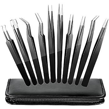 ElleSye 10-piece ESD Safe Precision Tweezers, Anti-Static Stainless Steel Tweezers Non-magnetic ESD Tweezer Set for Electronics, Jewelry, Craft, Laboratory Work, Eyebrow & Ingrown Hair Removal