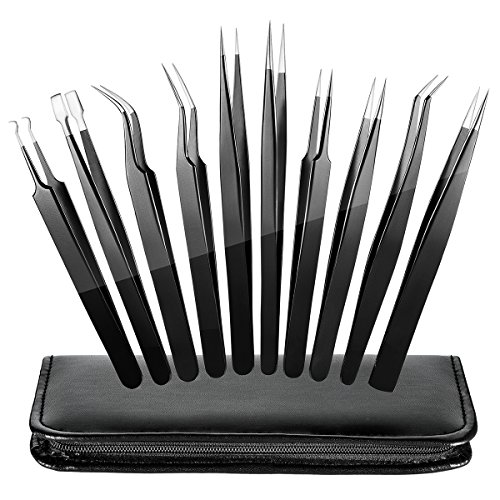 ElleSye ESD Safe Precision Tweezers, 10-piece Anti-Static Stainless Steel Tweezers Non-magnetic ESD Tweezer Set for Electronics, Jewelry, Craft, Laboratory Work, Eyebrow & Ingrown Hair Removal
