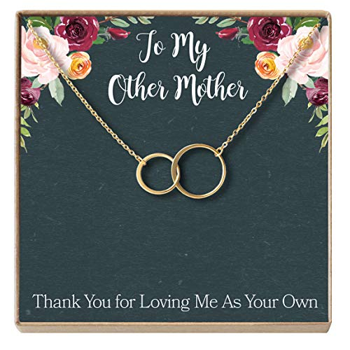 (Dear Ava Stepmom Gift Necklace: Adopted Mum, Mother Figure, Foster Mom, Stepmother, 2 Asymmetrical Circles (Gold-Plated-Brass, NA))