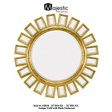 Majestic Mirror Contemporary Round Gold Ornate Beveled Glass Decorative Mirror