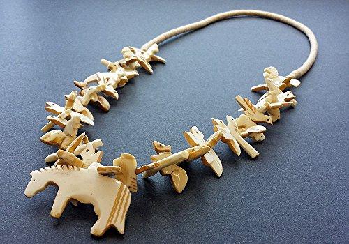 Hand Carved Natural Buffalo Bone Horse with Mixed Animals SouthwestFetish Necklace