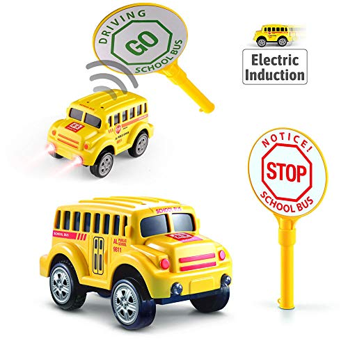 Bus Vehicles - URTOYPIA Inductive Car Toys for Boys, Electronic Inductive Race Car for Track Toys School Bus Diecast Toy Vehicles with 3 Lights and Traffic Sign Compatible with Race Track Toy Car for Kids Girls
