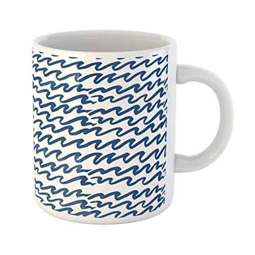 Semtomn Funny Coffee Mug Watercolor Pattern Ocean Waves Batik Indigo Shibori Japanese 11 Oz Ceramic Coffee Mugs Tea Cup Best Gift Or Souvenir ()
