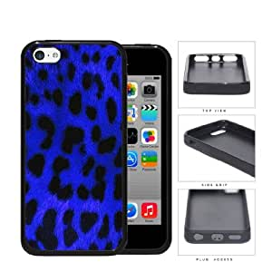 Exotic Leopard Print Series Rubber Silicone TPU Cell Phone Case Cover Apple iPhone 5c (Blue)