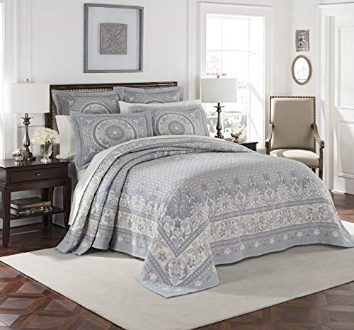 Colonial Williamsburg Basset Woven Bedspread & Coverlet Collection (Blue, Twin Bedspread 80W x 110L)