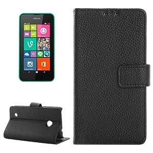 Texture lichis Horizontal con solapa PU Funda Smart Cover con Holder Case & Slots & Card Wallet para Nokia Lumia 530 (Black)