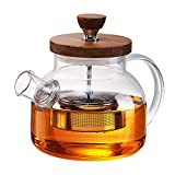 glass and bamboo tea kettle - WarmCrystal, Glass Tea Kettle with Bamboo Lid, Stainless Steel Infuser and Removable Filter Spout (27 oz)