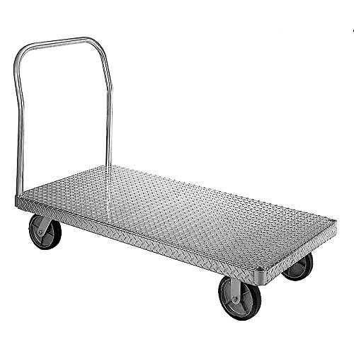 Wesco-350092-Treadplate-Model-Aluminum-Platform-Truck-Moldon-Rubber-Wheels-2400-lb-Load-Capacity-46-12-Handle-Height-60-x-30