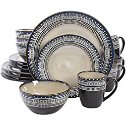 Gibson Elite 101983.16RM Magello 16 Piece Reactive Glaze Dinnerware Set, Cream/Brown/Blue