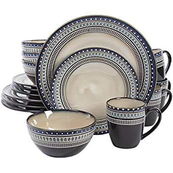 Gibson Magello 16 Piece Dinnerware Set Cream/Brown/Blue  sc 1 st  Amazon.com & Amazon.com: Gibson Magello 16 Piece Dinnerware Set Cream/Brown/Blue ...