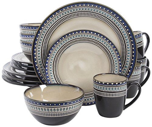 Gibson Overseas, Inc. Gibson Elite 101983.16RM Magello 16 Piece Reactive Glaze Dinnerware Set Service of 4, Cream/Brown/Blue, -  - kitchen-tabletop, kitchen-dining-room, dinnerware-sets - 51KN3Pzq2NL -
