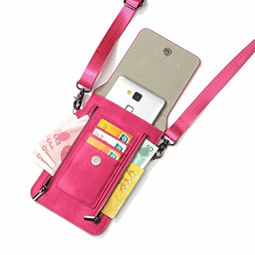 SelliPhone Women Girls Outdoor Zipper PU Leather Crossbody Shoulder Bag Pouch Wallet Case for Samsung Galaxy S6 / S6 Edge / S7 / S7 Edge / S8 / S8 Plus / S9 / S9+ Note 8/9 / A9 / A8 - Pink