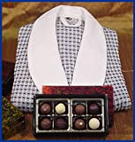 8 Premium Truffles in Red Lacquer Box & Italian Waffle Robe with Shawl Collar
