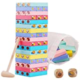 Wooden Blocks Stacking Board Games for Kids Adults and Families,Hamus Tumbling Timber Tower Game Building Block Toys for Children Toddlers with Colorful Animal Patterns - 51 Pieces