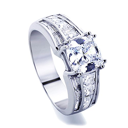 Accents Baguette (Sterling Silver 1.5ct Cushion Cut CZ Baguette Accent Band Wedding Engagement Ring ( Size 5 to 9 ))