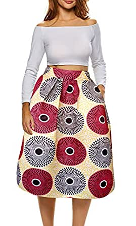 Afibi African Print Skirts for Women Boho Plus Size Flare Pleated Skirts - Red - Small