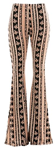 Daisy Del Sol High Waist Gypsy Comfy Yoga Ethnic Tribal Stretch 70s Bell Bottom Flare Pants (Small, (Flare Pant)