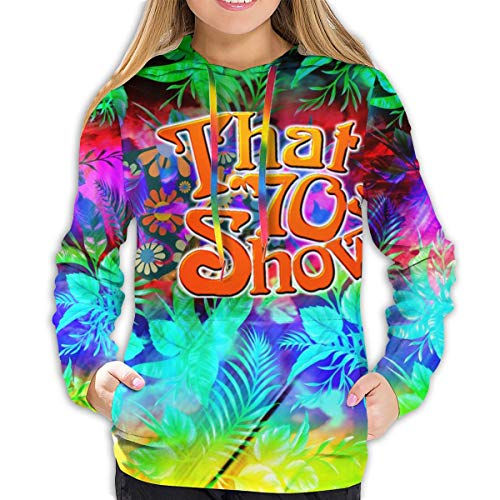 ME COO Women's Creative Printed That 70s Show Pockets Long Sleeve Pullover Hoodie XXL Black