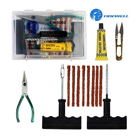TIREWELL TW-5003 Tubeless Tire Puncture Repair Kit 6 in 1 Portable Flat Tyre Puncher Repair Box for Cars, Trucks