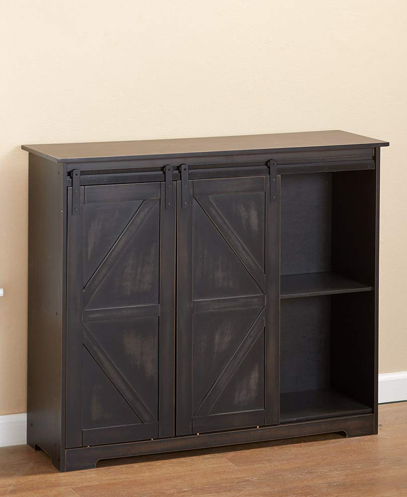 The Lakeside Collection Barn Door Sideboard Buffet Cabinet with Distressed Black Finish by The Lakeside Collection