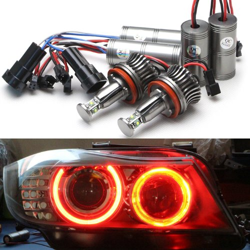 H8 Led Marker Angel Eyes - Nslumo H8 20w LED Cree Angel Eye Light Red for BMW E70 E87 E82 E90 E92 E93 M3 X5 X6 M6 BMW Headlights Super Bright Red Angel Eyes Lamps ()