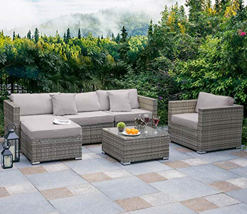 Tribesigns 6 PCS Outdoor Furniture Sectional Sofa Set, Large Wicker Patio Furniture Conversation Set Rattan Couch with Waterproof Cushions, Backyard Porch Garden Poolside Balcony Furniture (Grey)