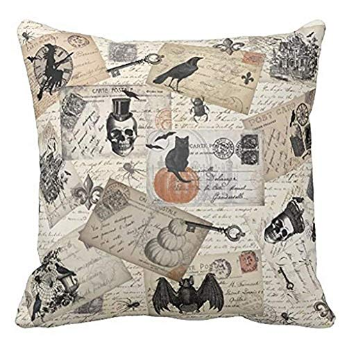 WORLDWOOD YANGYULU Halloween Pillow Covers Crow Skull Pillow Cover Halloween Birdcage Decorations Cotton Linen Throw Pillow Covers Cushion Case 18 x 18 inches/45 x 45cm Toss Pillowcase (Crow Bird01)