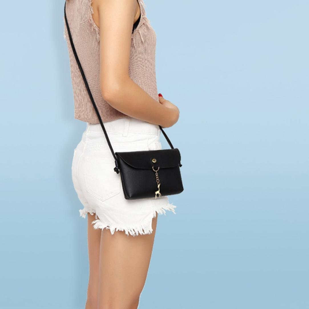 BCDshop Women Small Crossbody Shoulder Bag,GILR Deer Pendant Faux Leather Wallet Coin Purse (Black) by BCDshop Shoulder Bag (Image #4)