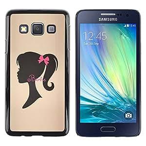Paccase / SLIM PC / Aliminium Casa Carcasa Funda Case Cover - Ribbon Brown Silhouette Lady - Samsung Galaxy A3 SM-A300