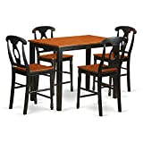 Kitchen Bar Counter Width East West Furniture YAKE5-BLK-W 5 Piece Counter Height High Top Table and 4 Bar Stools with Backs Set