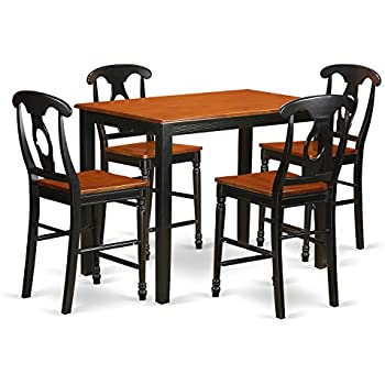 Amazon.com: East West Furniture YAKE5-BLK-W 5 Piece