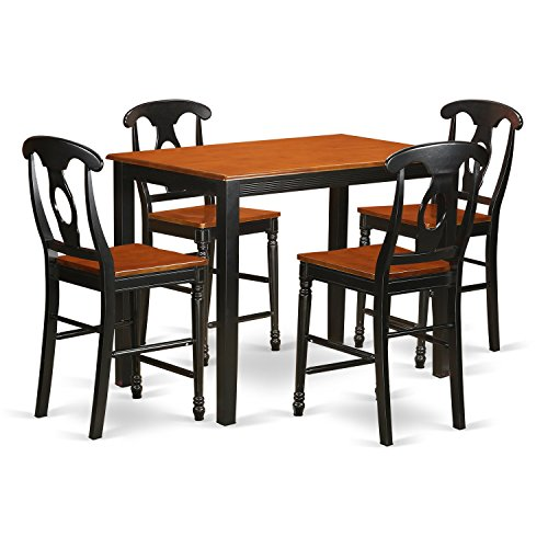 East West Furniture YAKE5-BLK-W 5 Piece Counter Height High Top Table and 4 Bar Stools with Backs Set