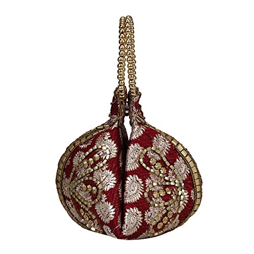 Wristlet Brocade - Bangle Potli Bag/Wristlet/Hand Bag with Brocade Beads (Maroon)