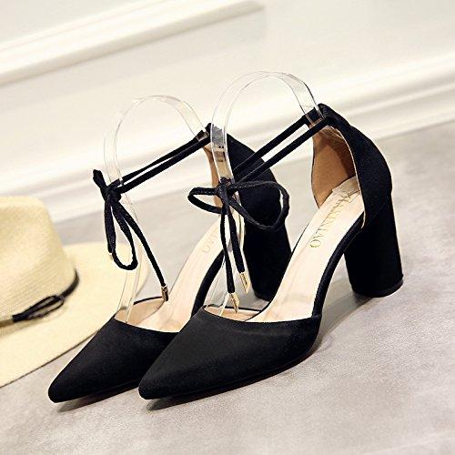 High Femmes Bold Chaussures Avec De Avec Boucles Heeled Les EU39 Femmes Tip Satin Chaussures SHOESHAOGE Sandales xFAwII0