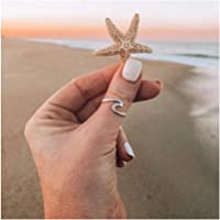Dwcly Ocean Sea Wave Thin Swirl Thumb Stackable Open Finger Ring Fashion Gift for Her